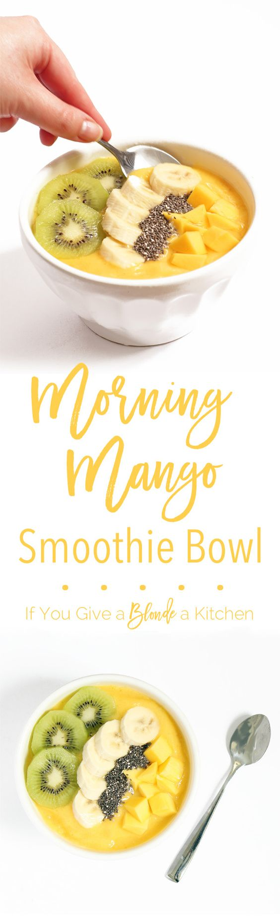 This morning mango smoothie bowl is like a bowl of sunshine for breakfast! Made with mango, pineapple, banana and coconut milk, this smoothie bowl recipe is gluten-free and dairy-free. | Recipe by @Haleydwilliams