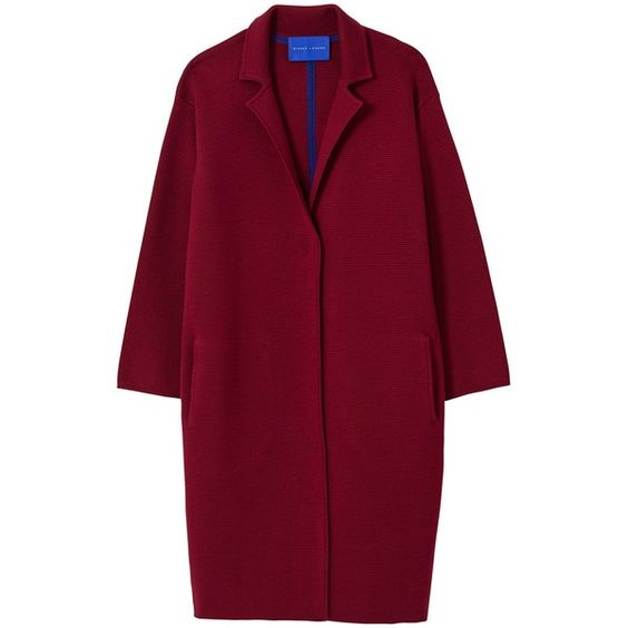Winser London Milano Wool Single Breasted Coat, Burgundy (£250) ❤ liked on Polyvore featuring outerwear, coats, jackets, coats & jackets, burgundy coat, long wool coat, long coat, long woolen coats and red coat