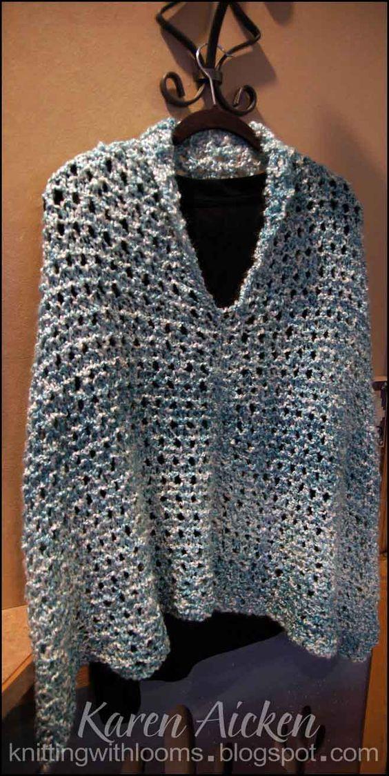 Loom Knitting Poncho : Aqua shorts loom and ponchos on pinterest