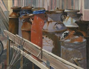 Milk Cans Painting - Milk Cans by John Wyckoff