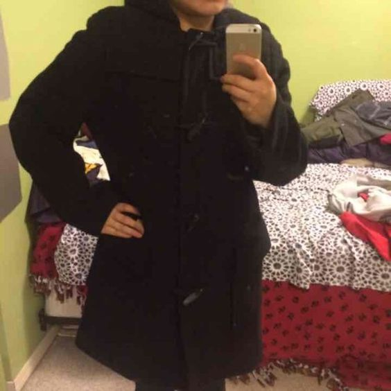J. Crew toggle coat Beautiful black toggle coat with hood. Hardly worn. Just during holidays. 60% wool. Runs big. I'm a medium-large and this is a size small. Very warm. J. Crew Jackets & Coats Pea Coats
