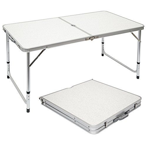 Amanka Table De Camping Pique Nique Pliable Reglable En Hauteur 120x60x70cm En Aluminium Pliant Format Mallette Gris Clair Table Camping Table Pliante Table De Balcon