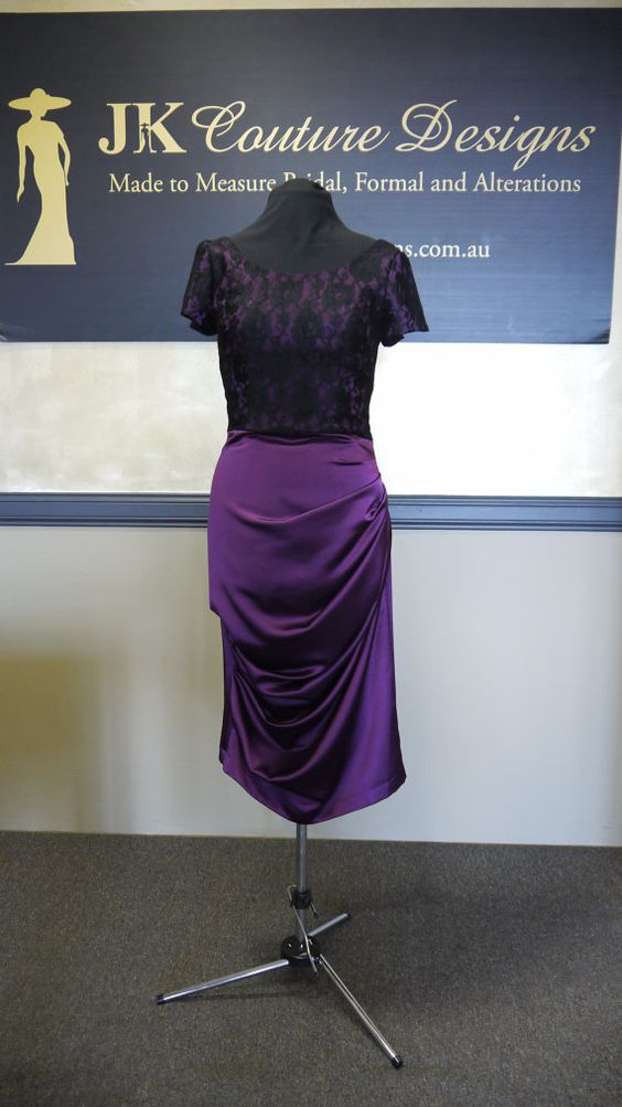Cathy  Purple and Black Lace Dress by JKCoutureDesigns on Etsy, $499.00
