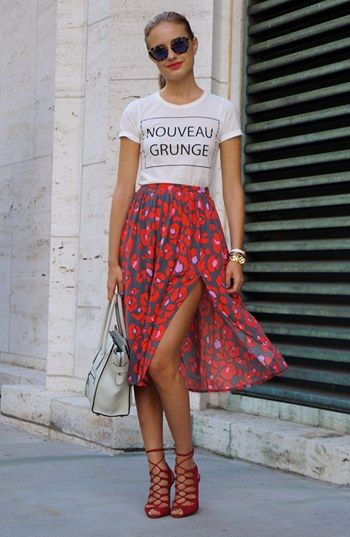 Printed Tee and Floral Skirt