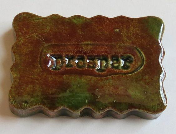 PROSPER  Small Ceramic Tile  Forest Green Art by InnerArtPeace, $6.00