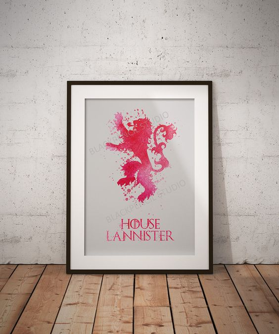 GAME OF THRONES House Lannister Sigil Red Watercolor Art - Illustration…