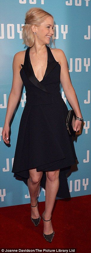 Jennifer Lawrence wears super-plunging blazer dress for Joy photocall