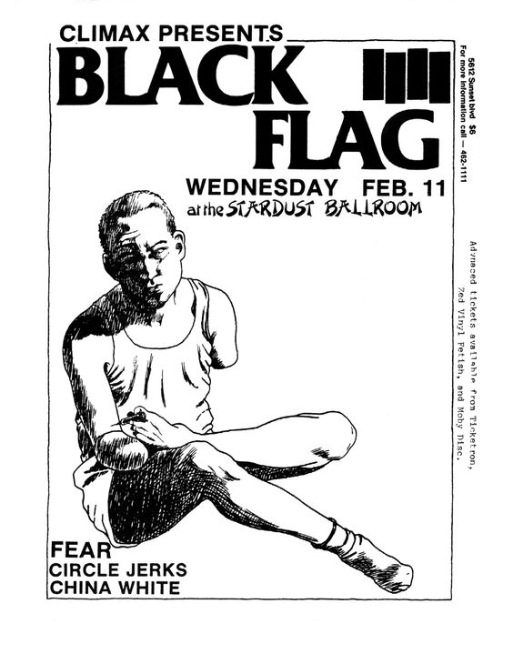 Flyer forBlack Flag/Fear/Circle Jerks at the Stardust Ballroom, artwork by Raymond Pettibon 1981.