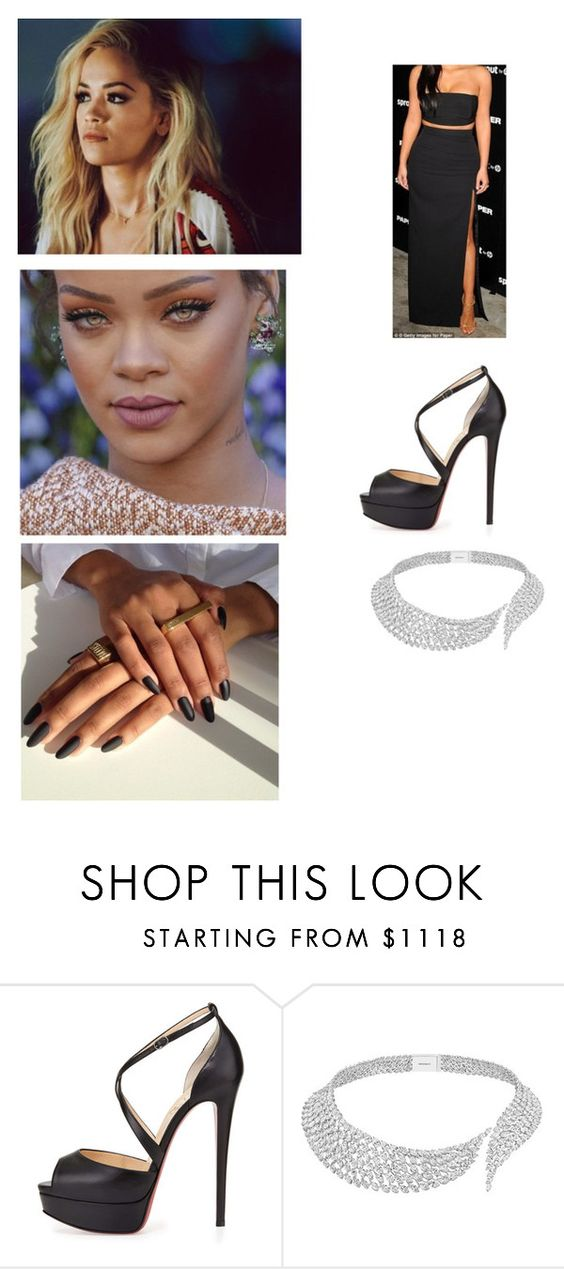 """Dinner In A Fancy Restraunt"" by paukar ❤ liked on Polyvore featuring Christian Louboutin and Messika"