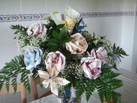Ramo de flores con dinero para una boda manualidades - Manualidades para una boda ...