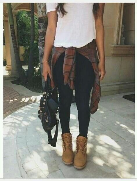 Timberlands....flannel...black leggings...white shirt....and crossbody purse: