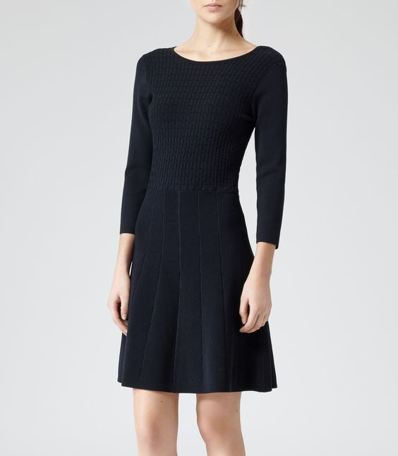 Womens Night Sky Fit & Flare Knitted Dress - Reiss Jambo