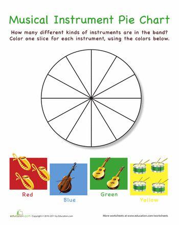 math worksheet : musical instrument pie chart  pie charts musical instruments and  : Pie Chart Fractions Worksheet