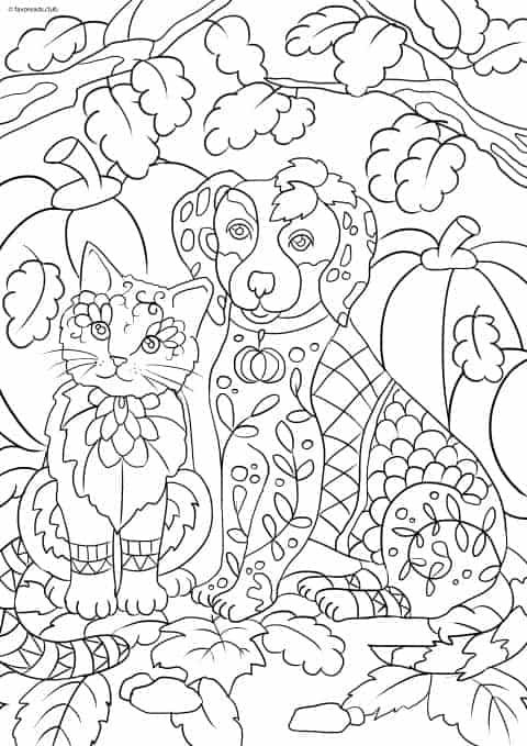 Cats And Dogs Cat And Dog Favoreads Coloring Club Dog Coloring Book Animal Coloring Pages Cat Coloring Page