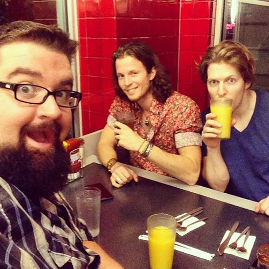 Rob, Austin, and Adam at the Waffle House after a show.