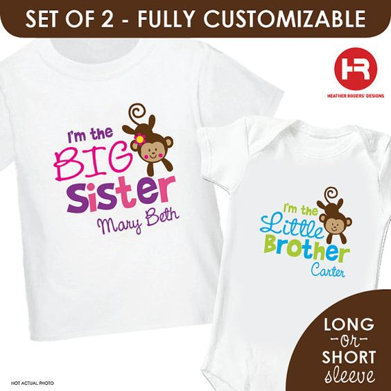 Playful Monkey BIG Sister & Playful Monkey by HeatherRogersDesigns, $32.50