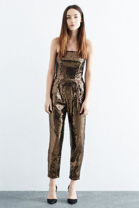Pin for Later: Start the New Year in a Party Jumpsuit or Playsuit Warehouse Sequin Bandeau Jumpsuit Warehouse Sequin Bandeau Jumpsuit (£45, originally £90)