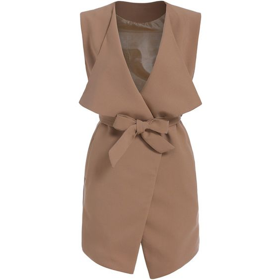 SheIn(sheinside) Khaki Lapel Belt Vest ($28) ❤ liked on Polyvore featuring outerwear, vests, jackets, khaki, vest waistcoat, khaki vest, brown waistcoat and brown vest: