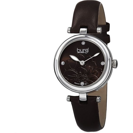 Burgi Women's Quartz Diamond Markers Etched Flower Dial Leather Strap... ($60) ❤ liked on Polyvore