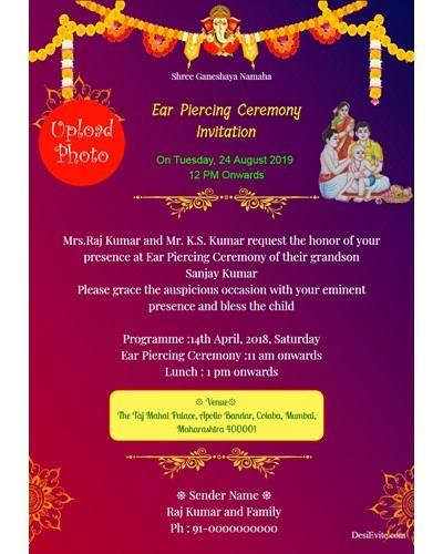 20 Format Of Ear Piercing Invitation Card Template And Review Invitations Invitation Card Maker Invitation Wording
