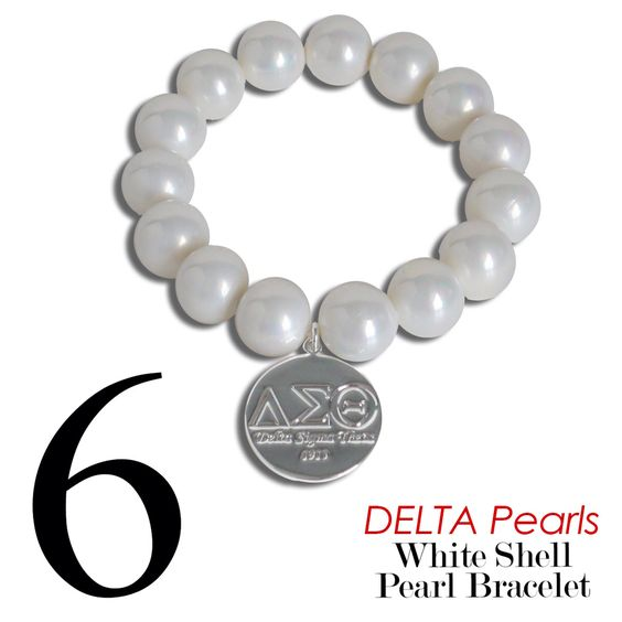 #6 Delta Sigma Theta  White Shell Pearl  stretch bracelet with reversible charm. Love.