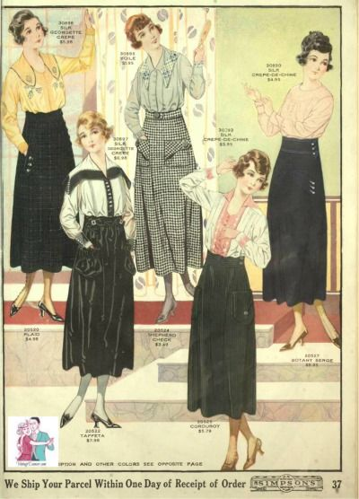 1918 Blouses and skirts for simple, casual day wear or working in a department store like Selfridges. Waistbands were high and wide yet the length was shorter then earlier years. Large pockets and big buttons were the primary details.