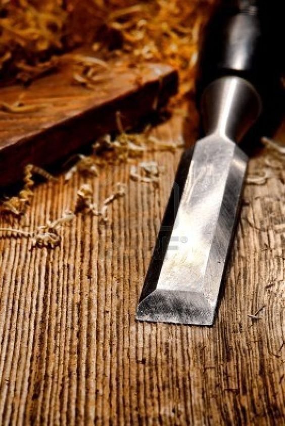 Carpentry Carpenter Woodworker Woodworking Wooden: Used And Worn Carpenter Wood Chisel Tool With Loose