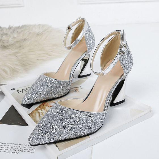 Blyszczace Srebrny Wieczorowe Buty Damskie 2020 Cekiny Z Paskiem 8 Cm Grubym Obcasie Szpiczaste Na Obcasie Sequin Heels Sequin Sandals Womens Summer Shoes