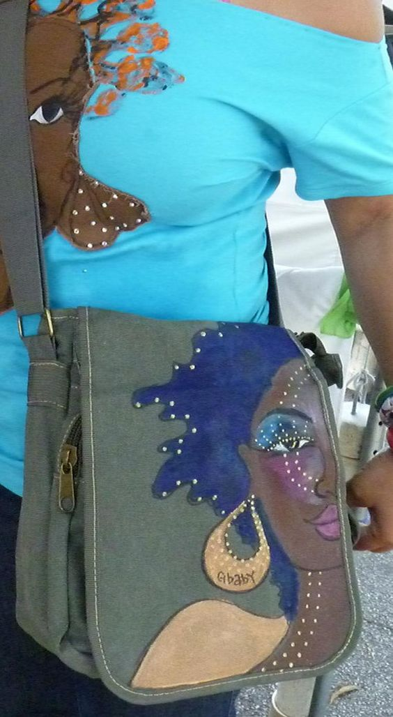 African American Art Gbaby Afro ChicBlue One of a kind by GbabyArt, $150.00
