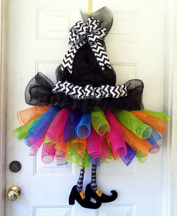 DIY Halloween Witches Tutu with Legs and Witch Hat Deco Mesh Wreath .