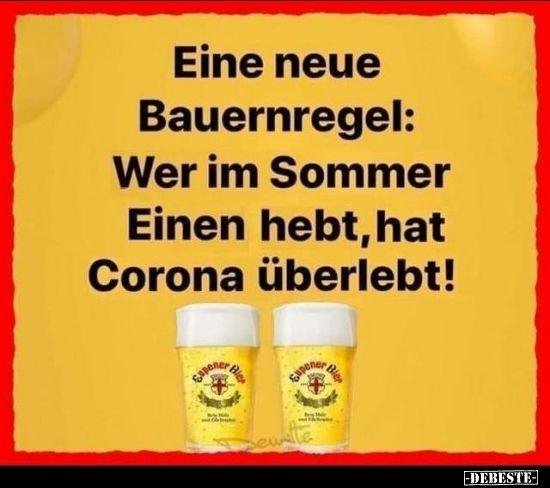 Eine Neue Bauernregel Wer Im Sommer Einen Hebt Hat Corona Spruche Leben Lustig Lustige Spruche Bilder Bier Lustig