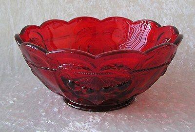 $45.00 Mosser Glass USA-Red Cherry Thumbprint Design-Centerpiece Serving Bowl NEW