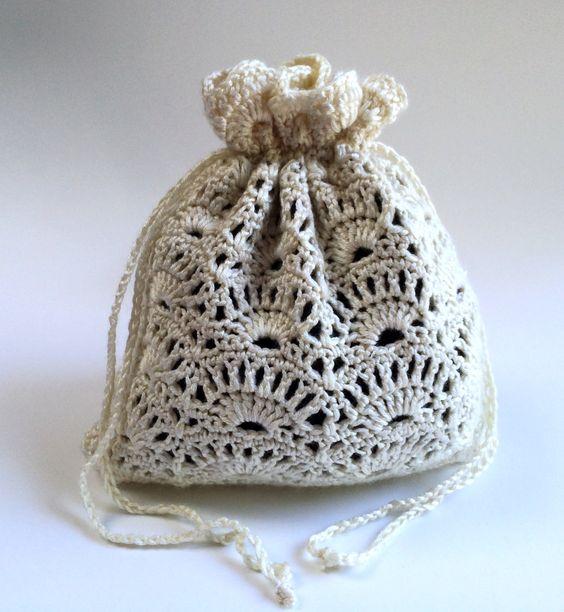Crochet Drawstring Cream Colored Purse by SoftsideCrochet on Etsy