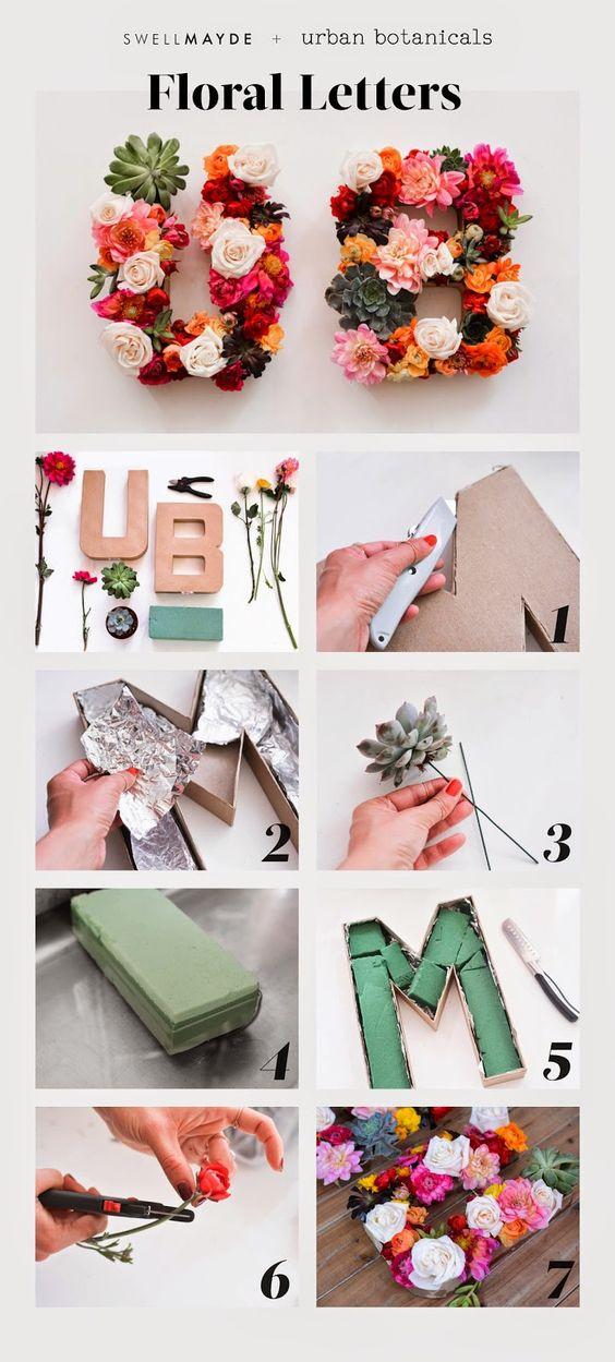 DIY Floral Letters via @swellmayde | Wedding Monogram | Flower Monogram | Floral Letters