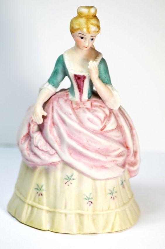 Porcelain Figurine Southern Belle Victorian Lady Bell Japan Mark J - 194