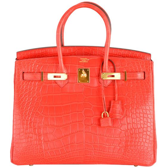 Hermes - HERMES BIRKIN BAG GERANIUM 35cm CROCODILE MATTE RED GOLD HW! ❤ liked on Polyvore
