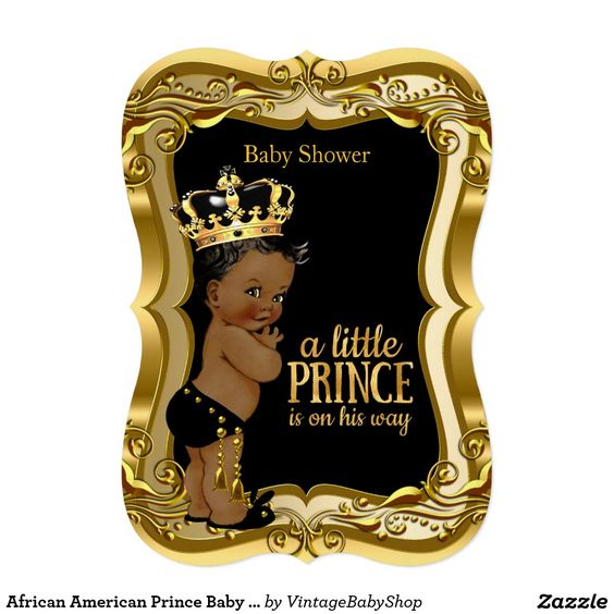African American Prince Baby Shower Black Gold Card