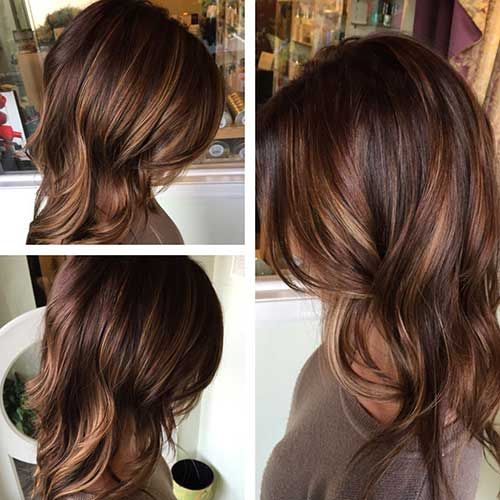 dark brown hair with blonde and caramel highlights ...