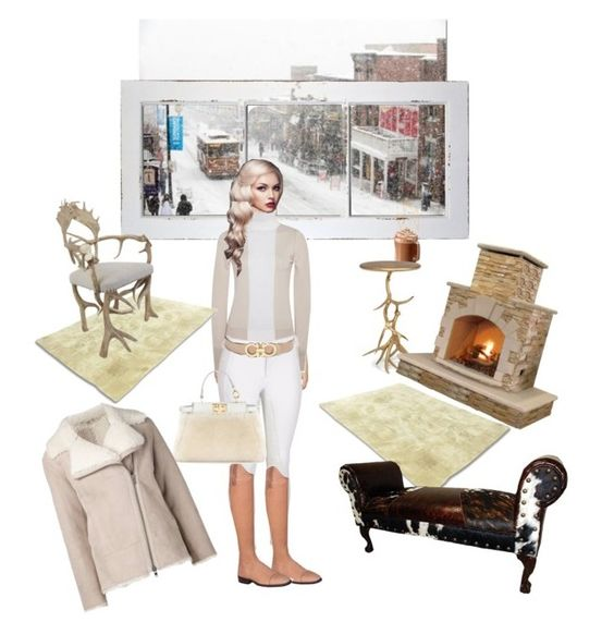 """""""Sundance & Shearling"""" by stylemyride on Polyvore featuring Belle Maison, Jonathan Saunders, Salvatore Ferragamo, Fendi, GAS Jeans, Sofie D'hoore, Yerra, Jayson Home, Great Blue Heron and women's clothing"""
