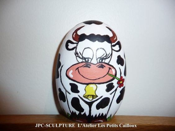 galet peint marguerite la vache by jpc sculpture stone art painted rocks painted stones. Black Bedroom Furniture Sets. Home Design Ideas