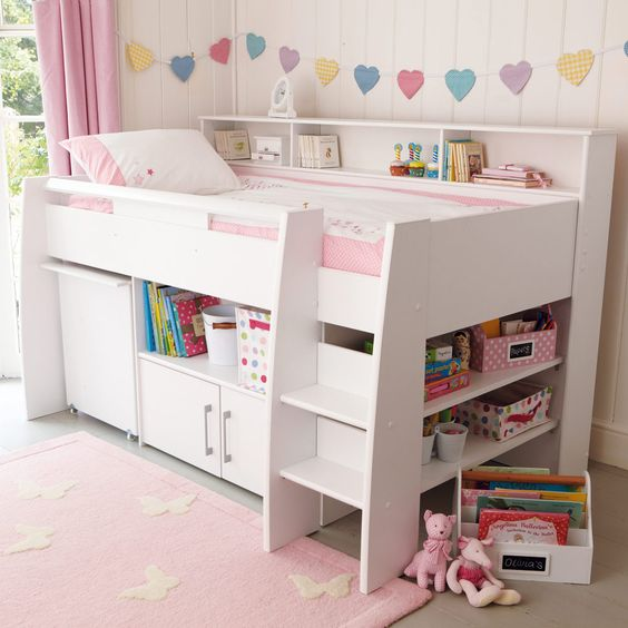 Reece Midsleeper Cabin Bed - White - Bunks & Cabin Beds - Beds & Mattresses - gltc.co.uk