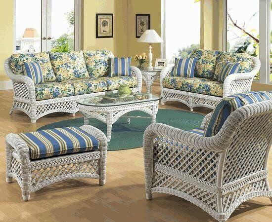 White Wicker Furniture, Sunroom Wicker Furniture Sets