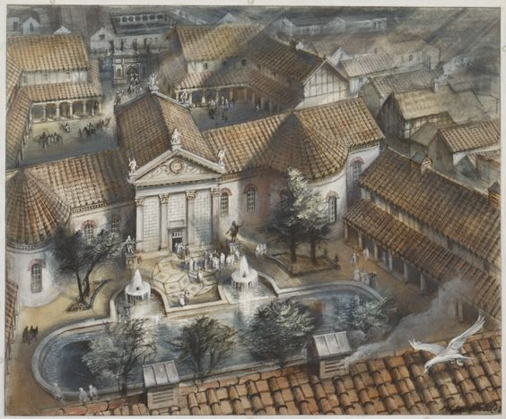 "The governor's palace at Londinium, watercolour by Alan Sorrell via the Museum of London. ""This watercolour depicts the Governor's Palace which would have been between Upper Thames Street and Cannon Street and is now Cannon Street station."""