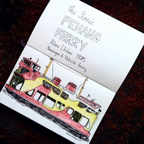 Sketch of the day no 657 in my moleskine art journal: Iconic Penang ferry