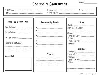 story outline template for kids - character outline create a character short story