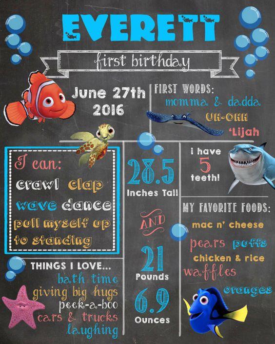Finding Nemo First Birthday Digital Chalkboard by BlueSkyPhotoShop