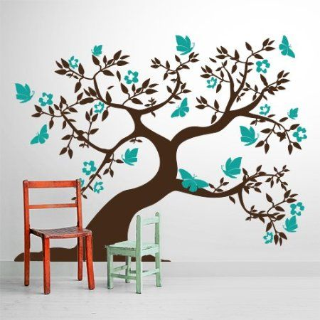 adesivo murale wall sticker albero con farfalle misure 207x160 cm decorazione parete. Black Bedroom Furniture Sets. Home Design Ideas