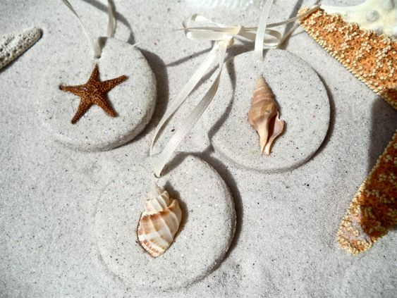 5 Shell and Starfish Beach Ornaments .. Doesnt get more beachy or unique... and…