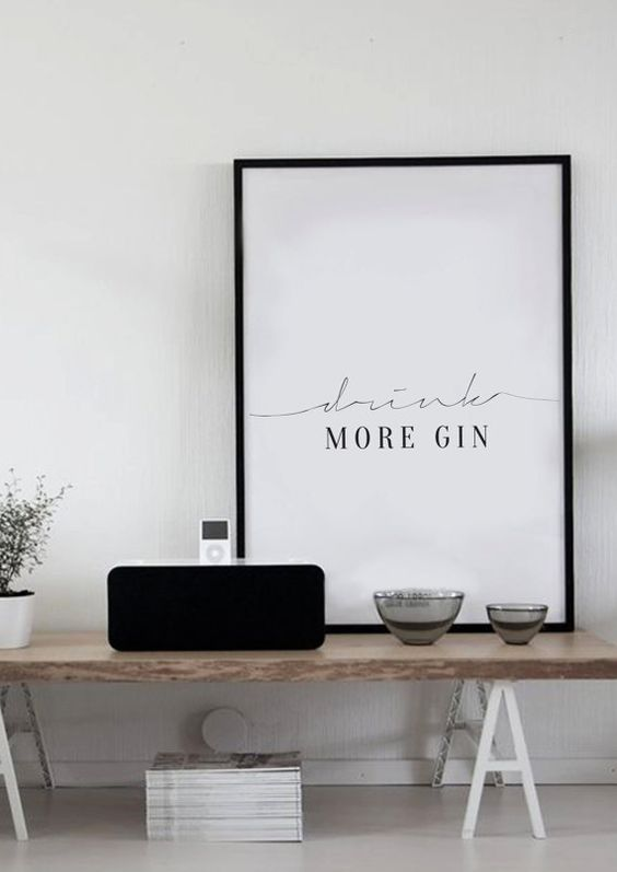 Drink More Gin Typography Poster Kitchen Art