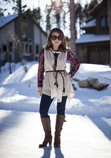 Belted vest + skinny jeans + distressed boots + bubble necklace + stacked bracelets